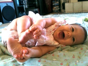 loves her toes.